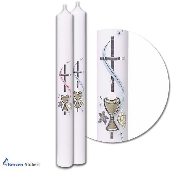 Kommunionkerzen-Konfirmationskerzen Elegant in Hellblau oder Rosarot