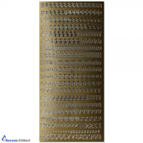 Konturensticker-Gold-Kleinbuchstaben Test