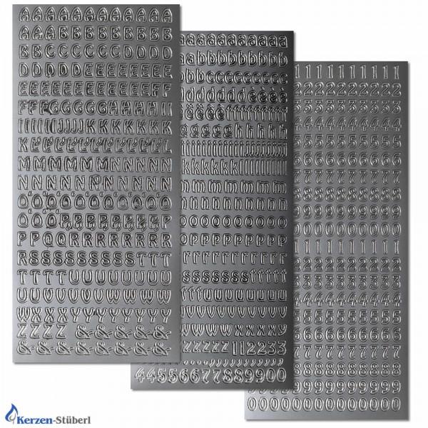 Konturensticker-Buchstaben-Zahlen im Set-Silber Test