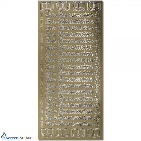 """Konturensticker-Gold """"Zur Kommunion"""" Ornamente Test"""