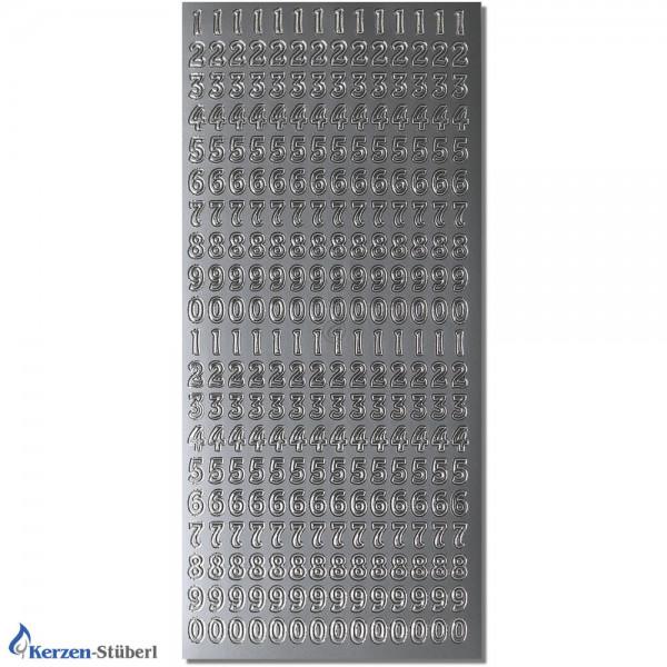 Konturensticker-Silber-Zahlen 0-9 Test