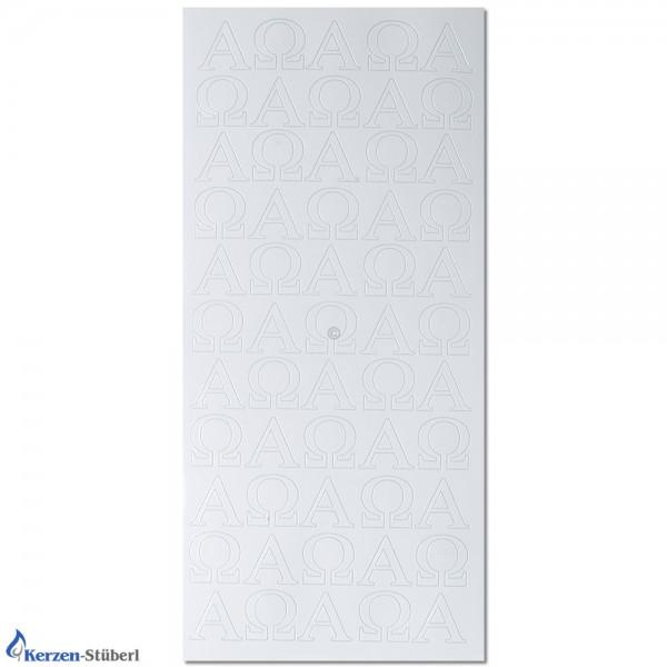 Konturensticker-Stickerbogen Alpha-Omega Weiß Test
