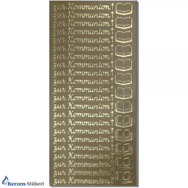 """Konturensticker-Gold """"Zur Kommunion"""" Kreuz-Bibel Test"""