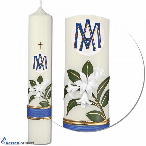 Marienkerze mit weißer Lilie Test