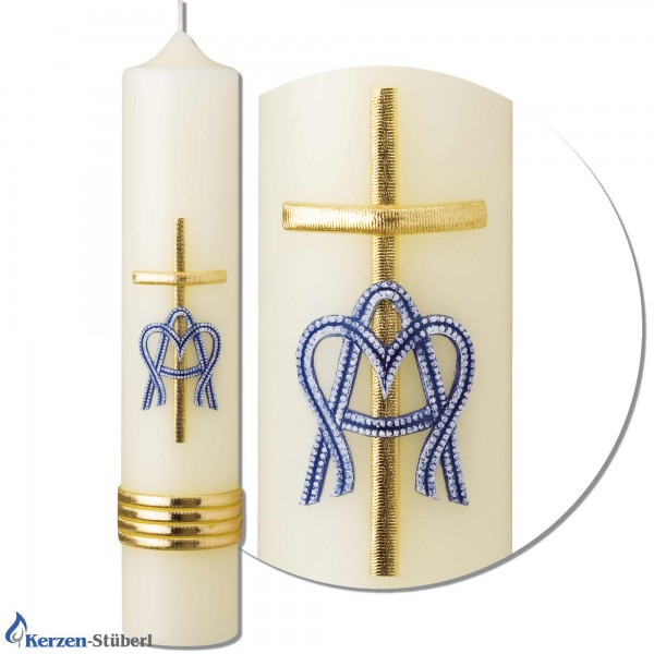 Marienkerze mit blauen und goldenen Echtwachsverzierungen