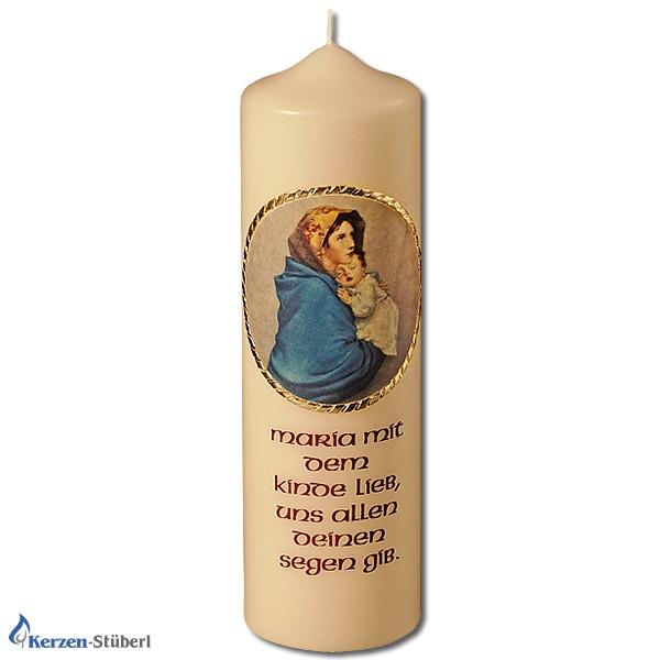 Abbildung einer Marienkerze mit dem Spruch Maria mit dem Kinde lieb. uns allen deinen Segen gib