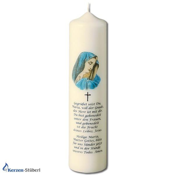 Abbildung einer Marienkerze mit dem Gebet Gegrüßt seist Du Maria