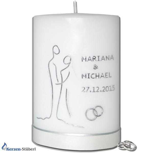 Moderne Hochzeitskerze - Silber