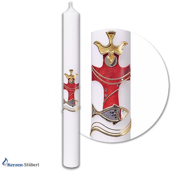 Moderne Taufkerze für Mädchen und Jungen mit marmorierten Kreuz