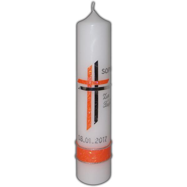 Taufkerze Orange-Silber Mädchen Test