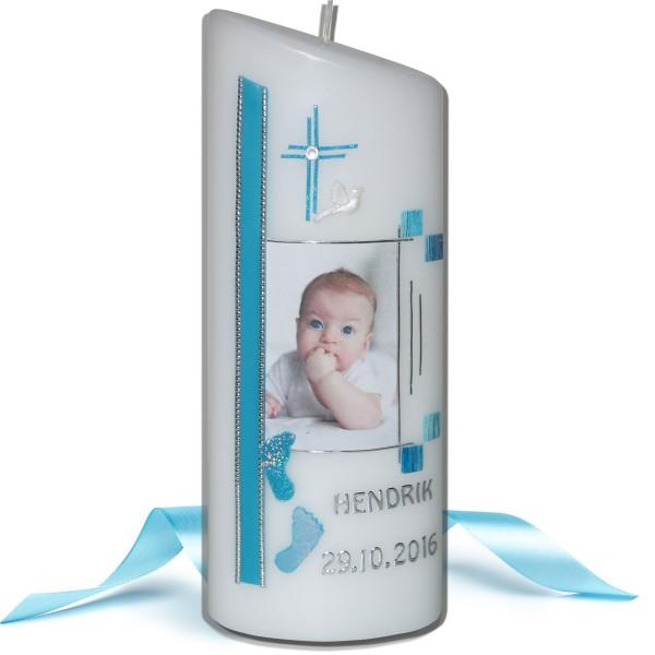 Taufkerze-Fotokerze für Jungen mit Babyfüßchen Test