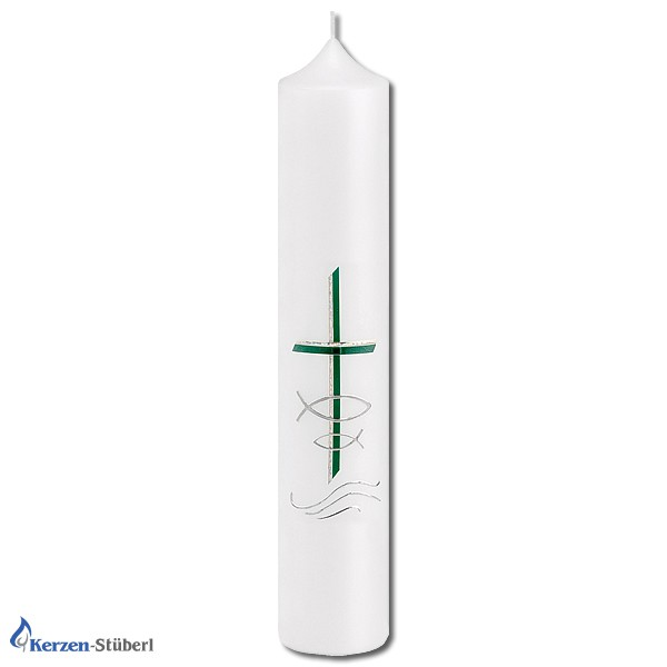 Taufkerze, klassisch aber modern in Grün und Silber mit religiösen Elementen