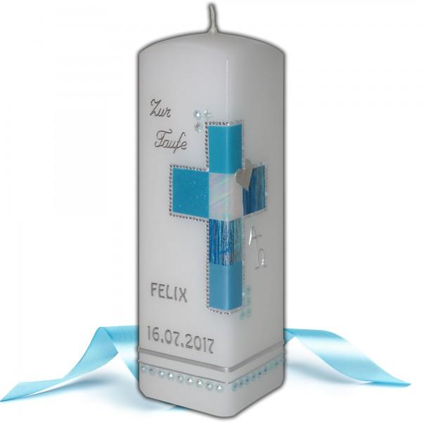 Taufkerze mit Kreuz | Hellblau-Silber Test
