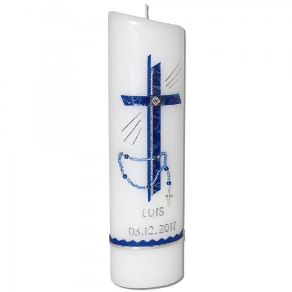 Taufkerze mit Rosenkranz für Jungen