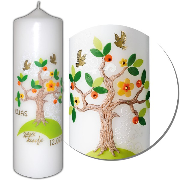 Taufkerze Baum-Lebensbaum | Kerzen-Stüberl