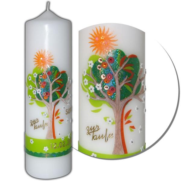 Taufkerze-Lebensbaum-Vier Jahreszeiten