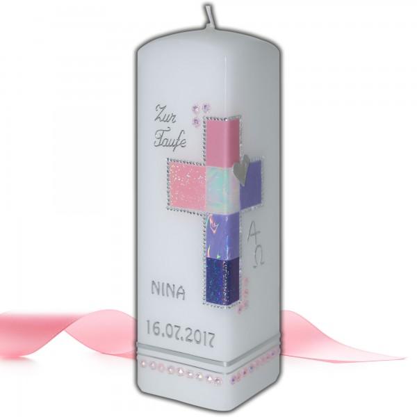 Taufkerze für Mädchen mit Kreuz | Rosa-Silber