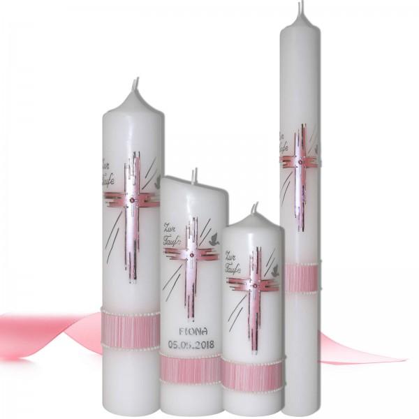 Taufkerzen für Mädchen Rosa-Silber