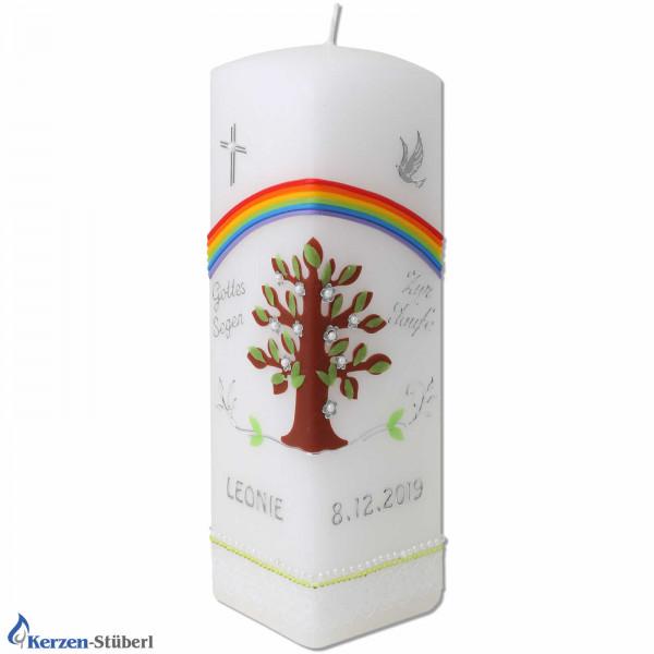 Vierkant-Taufkerze   Lebensbaum-Regenbogen Test