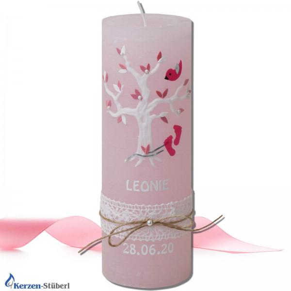Taufkerze-Rosa-Vintage-Rustik-Lebensbaum Test