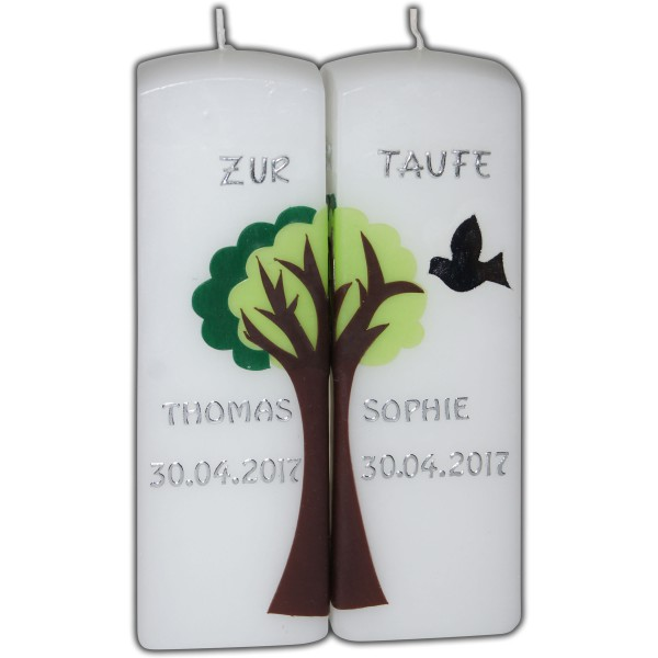 Taufkerze-Zwilling-Lebensbaum
