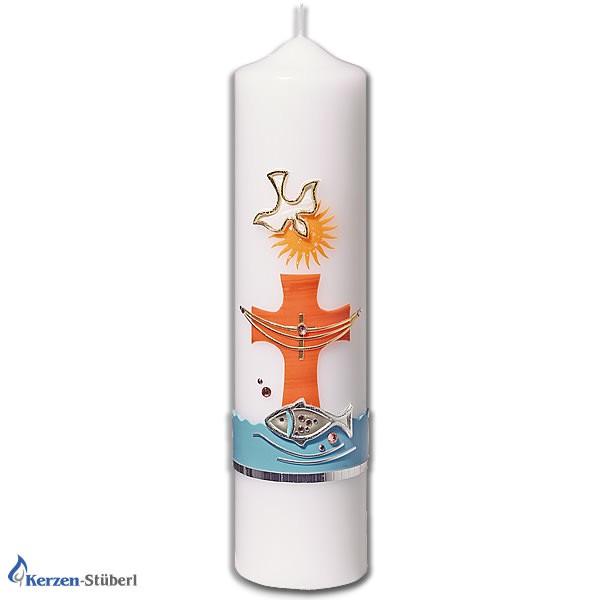 Moderne Taufkerze für Mädchen und Jungen in Blau und Orange