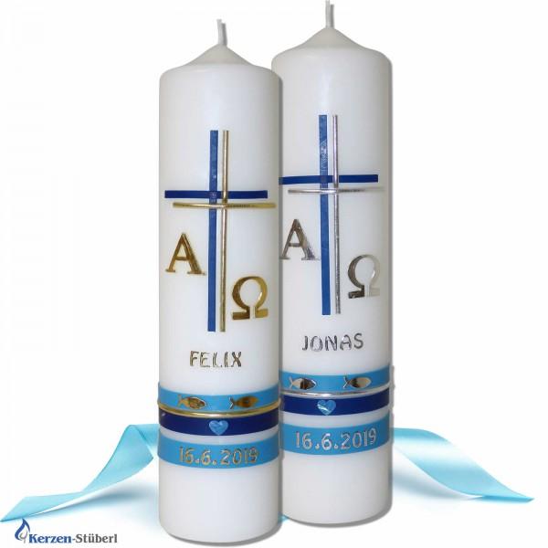 Taufkerzen für Jungen | Klassisch mit Alpha-Omega