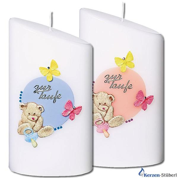 Taufkerzen für Mädchen und Jungen | Teddy, Schmetterlinge und Schnuller