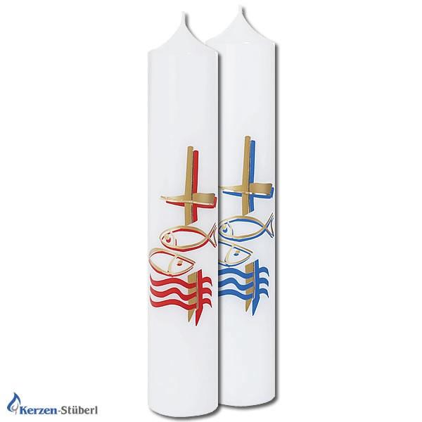 Abbildung einer roten und blauen Taufkerze für Mädchen und Jungen Test
