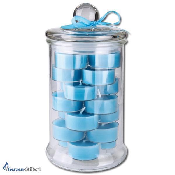 Teelicht im Dekoglas in Blau
