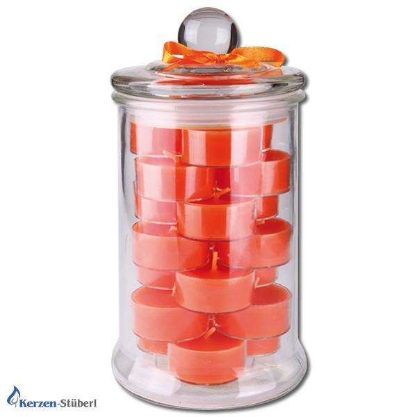 Teelicht im Dekoglas in Orange
