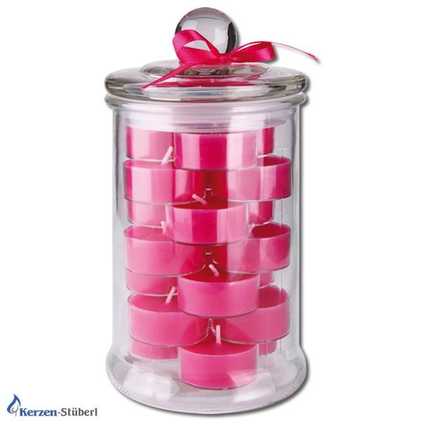 Teelicht im Glas in der Farbe Pink