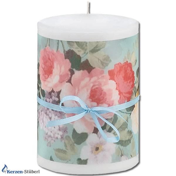 Trendkerzen | roses bleu - Mit roten Rosenmotiv bedruckte Stumpenkerze