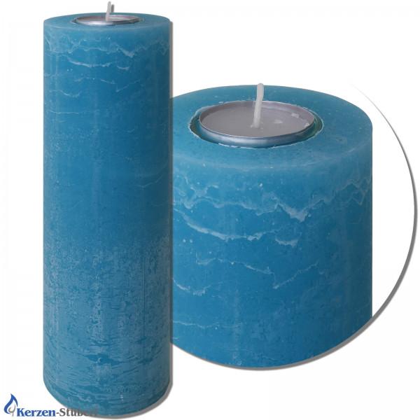 Vintage-Rustik-Kerze mit Teelichteinsatz   Blau Test