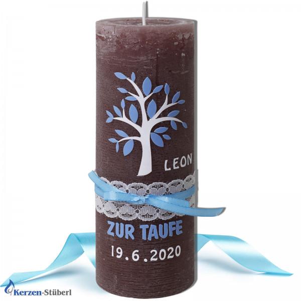Taufkerze-Lebensbaum-Vintage-Rustik Test