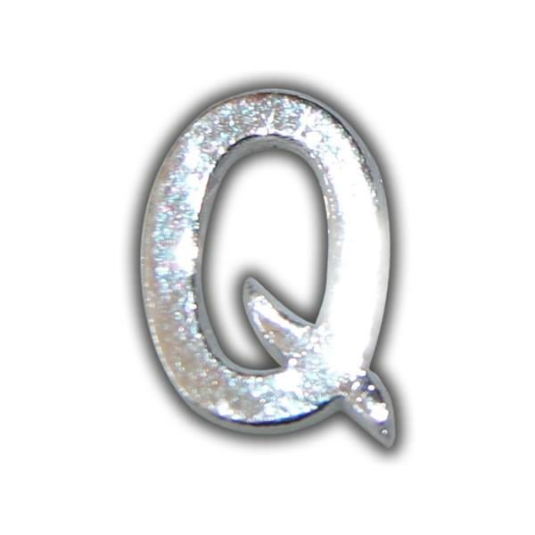 """Kerzenbeschriftung-Wachsbuchstabe """"Q"""" Silber-Moderne Schriftart Test"""