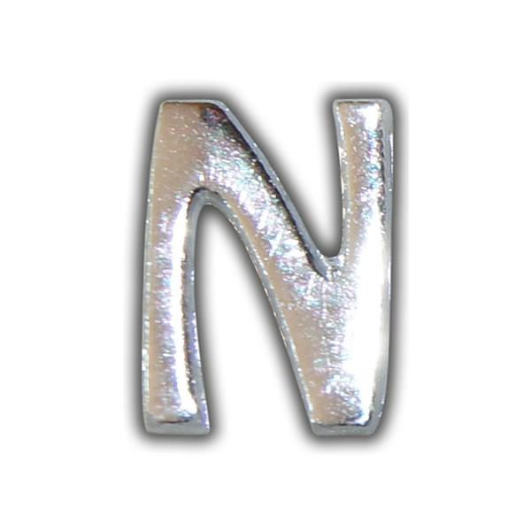 """Kerzenbeschriftung-Wachsbuchstabe """"N"""" Silber-Moderne Schriftart"""