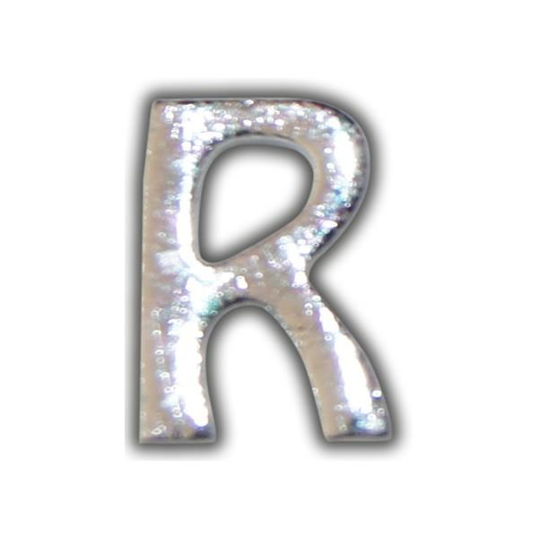 """Kerzenbeschriftung-Wachsbuchstabe """"R"""" Silber-Moderne Schriftart"""