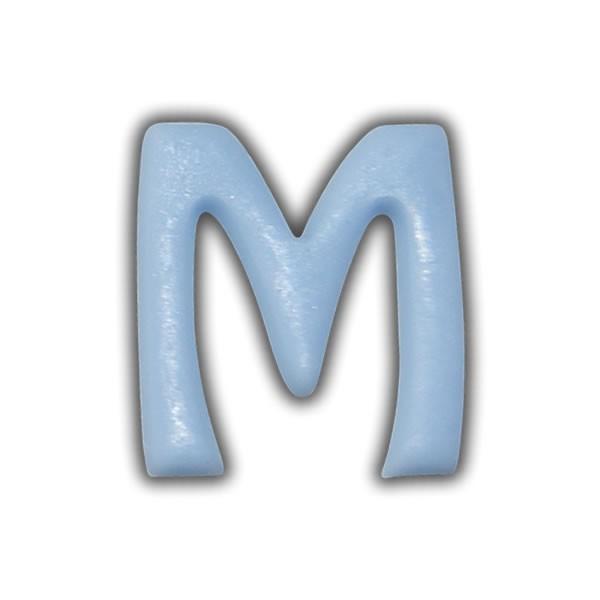 """Wachsbuchstaben """"M"""" Hellblau zum Kerzen basteln Test"""