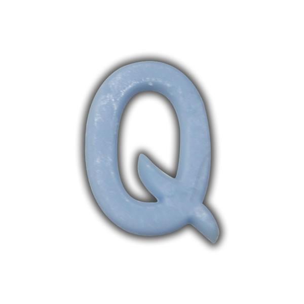 """Wachsbuchstaben """"Q"""" Hellblau zum Kerzen basteln Test"""