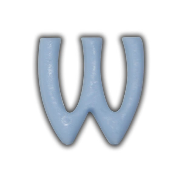 """Wachsbuchstaben """"W"""" Hellblau zum Kerzen basteln Test"""