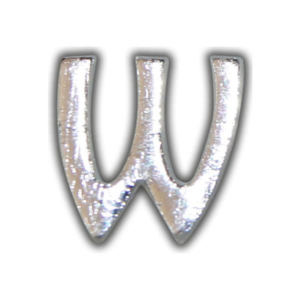 """Kerzenbeschriftung-Wachsbuchstabe """"W"""" Silber-Moderne Schriftart Test"""