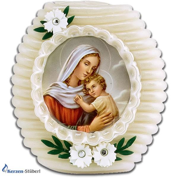 Wachsstock Maria mit Kind und Blumen