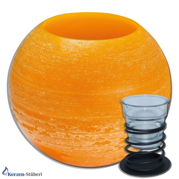 """Wachswindlicht-Kugel """"Orange"""" 200 mm"""