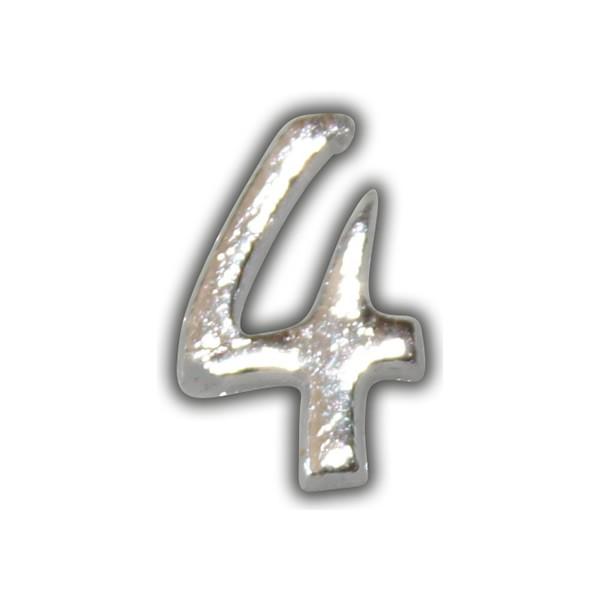 """Wachszahl """"4-Nummer Vier"""" in Silber"""