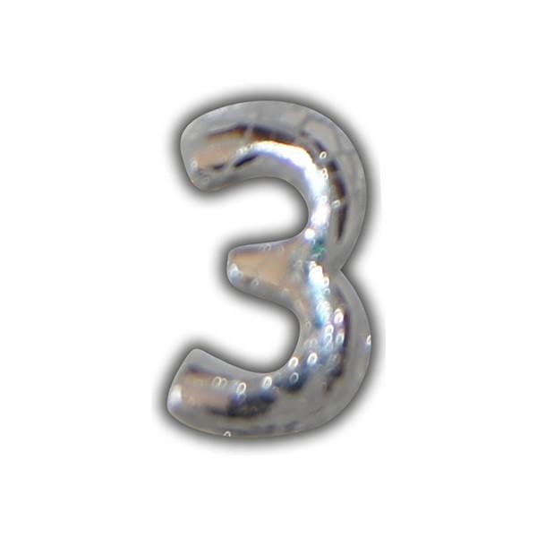 """Wachszahl """"3-Nummer Drei"""" in Silber"""
