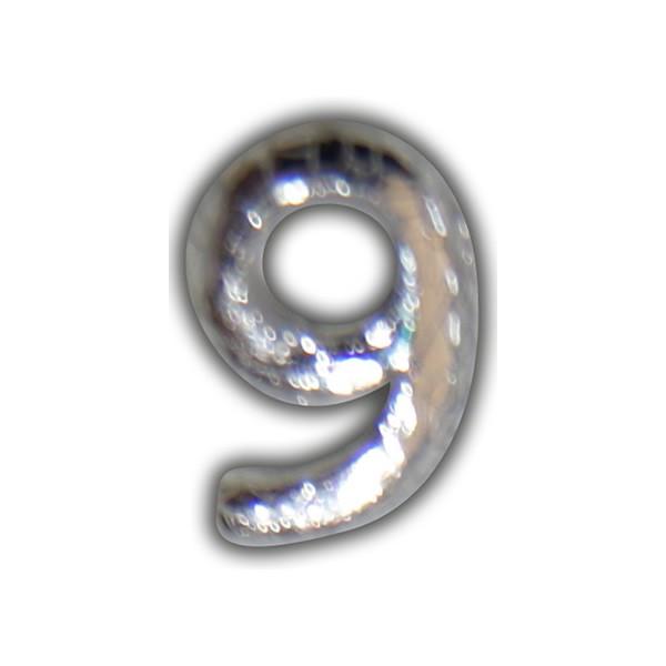 """Wachszahl """"9-Nummer Neunl"""" in Silber"""