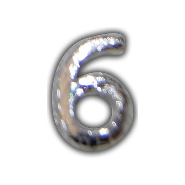 """Wachszahl """"6-Nummer Sechs"""" in Silber"""