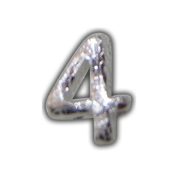 """Wachszahl """"4-Nummer 4"""" in Silber"""