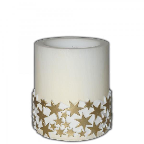 Weihnachtskerze | Lampionkerze mit Sternen-Borte